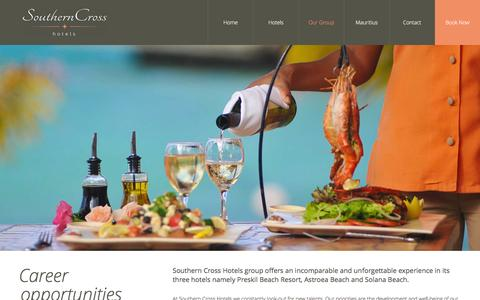 Screenshot of Jobs Page southerncrosshotels.mu - Career - Southern Cross Hotels Mauritius - captured Feb. 15, 2016