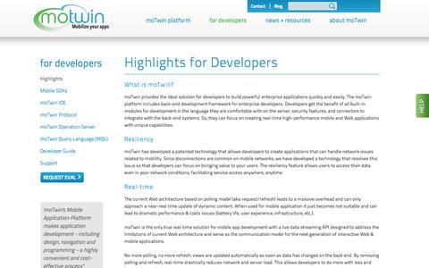 Screenshot of Developers Page motwin.com - moTwin - enterprise platform for real-time apps - captured Sept. 16, 2014