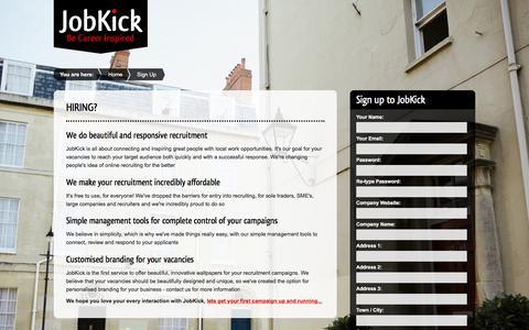 Screenshot of Signup Page jobkick.co.uk - JobKick   Sign Up - captured June 8, 2017