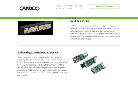 Screenshot of Products Page candoosys.com - Fluxgate magnetometer products sold by Candoo Systems Inc. - captured Sept. 26, 2018