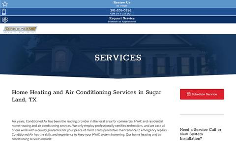 Screenshot of Services Page conditionedairtx.com - Home Heating and Air Conditioning Services Sugar Land , TX - captured Sept. 24, 2018