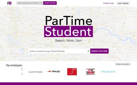 Screenshot of Home Page partimestudent.com - ParTime Student - Search for jobs near you and apply now - captured Dec. 7, 2015