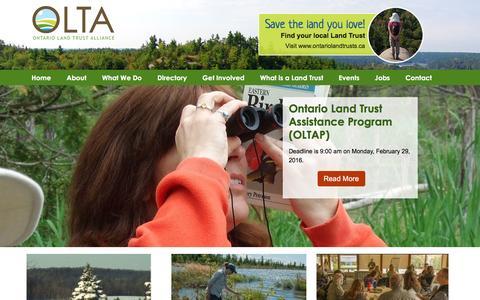 Screenshot of Home Page olta.ca - Ontario Land Trust Alliance, OLTA, Land Trust, Nature - captured March 8, 2016