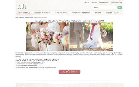 Screenshot of elli.com - Wedding Vendor Partner Program - captured March 19, 2016