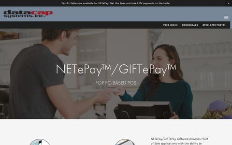 NETePay™/GIFTePay™ — Integrated Payments  - Datacap Systems, Inc.