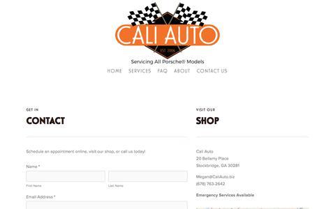 Screenshot of Contact Page atlantaporscherepaircaliauto.com - Contact Us —     Cali Auto: Exclusive Porsche Mechanic® - captured Oct. 16, 2016