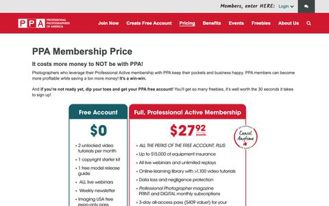 Screenshot of Pricing Page ppa.com - PPA Membership Pricing | Professional Photographers of America - captured Nov. 20, 2018