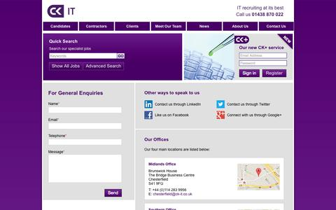 Screenshot of Contact Page ck-it.co.uk - Contact Us | CK IT - captured Sept. 26, 2014