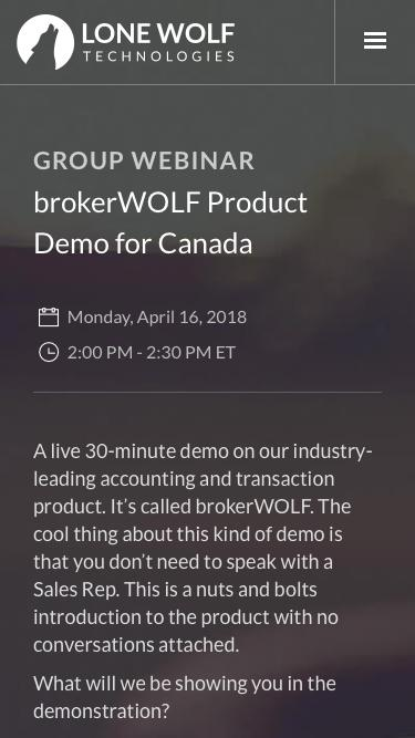 brokerWOLF Product Demo Registration | Lone Wolf Technologies