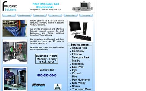 Screenshot of Home Page futurix.com - Futurix Solutions - PC Computer Network Consulting - Ventura County - Home - captured Sept. 11, 2015