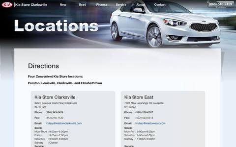 Screenshot of About Page Maps & Directions Page kiastoreclarksville.com - Kia Store Clarksville (866) 545-2429 | Indiana Car Dealer Locations - captured Jan. 16, 2018