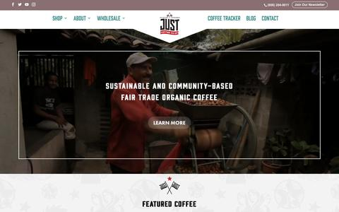 Screenshot of Home Page justcoffee.coop - Sustainable and Community-Based Fair Trade Organic Coffee - Just Coffee Cooperative - Fair Trade Organic Coffee - captured Sept. 19, 2018