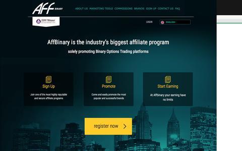 Screenshot of Home Page affbinary.com - Affbinary | Make Money With Money - captured Oct. 1, 2015