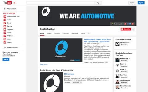 Screenshot of YouTube Page youtube.com - DealerSocket  - YouTube - captured Oct. 22, 2014