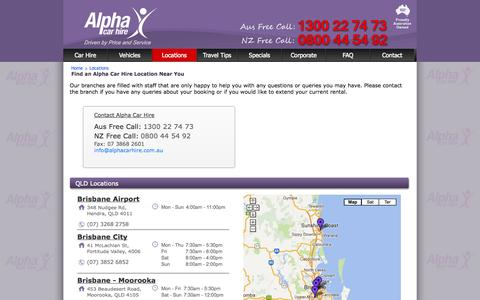 Screenshot of Locations Page alphacarhire.com.au - Alpha: Car Hire Store Locations and Opening Hours - captured Sept. 22, 2014