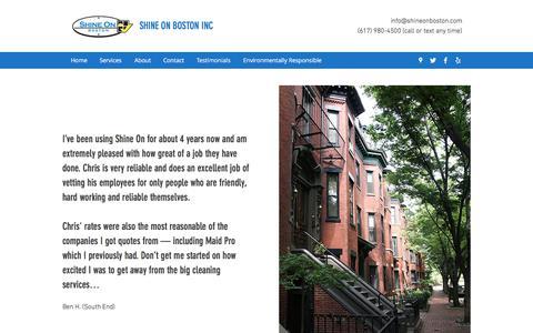 Screenshot of Testimonials Page shineonboston.com - Testimonials | Shine On Boston Inc - captured Sept. 21, 2018