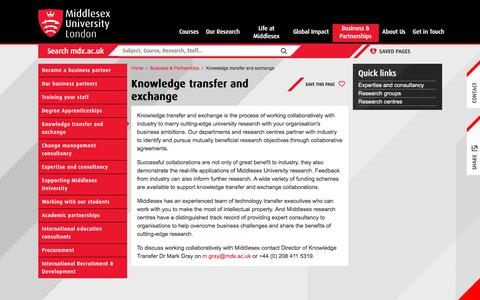 Knowledge transfer and exchange  | Middlesex University London