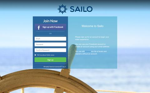 Screenshot of Signup Page sailo.co - Sailo · Rent a boat from owners - captured Oct. 27, 2014