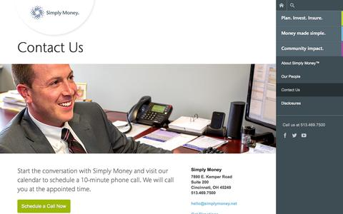 Screenshot of Contact Page simplymoney.net - Contact Simply Money | 513-469-7500 | Cincinnati, OH - captured Oct. 4, 2014