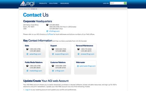 Screenshot of Contact Page agi.com - Contact Us - Analytical Graphics, Inc. (AGI) - captured Sept. 25, 2014