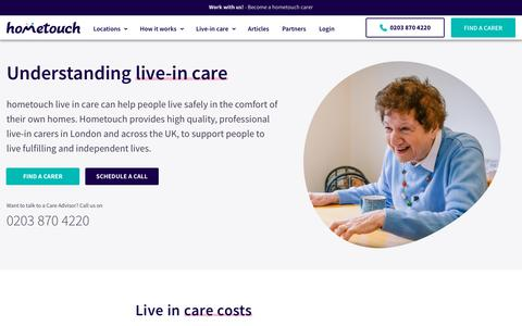 Screenshot of Services Page myhometouch.com - Understand the benefits of live-in care | Home care | hometouch - captured July 12, 2019