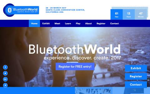 Screenshot of Home Page bluetoothworldevent.com - Welcome - Bluetooth World 2017 - experience.discover.create - captured Jan. 26, 2017
