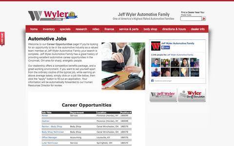 Screenshot of Jobs Page jeffwyler.com - Automotive Dealership Careers & Jobs at Jeff Wyler Automotive Family - captured Oct. 6, 2014