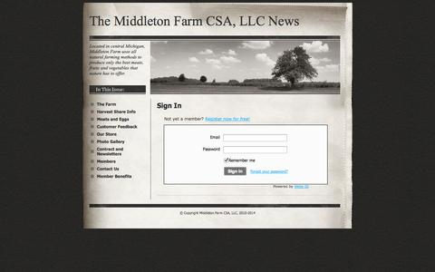 Screenshot of Login Page middletonfarmcsa.com - Login - The Middleton Farm CSA, LLC  News - captured Oct. 27, 2014