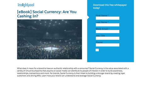 Screenshot of Landing Page insightpool.com - [eBook] Social Currency: Are You Cashing In? - captured Sept. 24, 2016