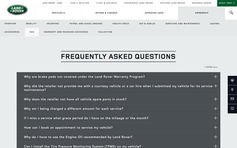 Screenshot of FAQ Page landroverlaos.com - Things you Need to Know as a Land Rover Owner | Land Rover Laos - captured Sept. 25, 2018