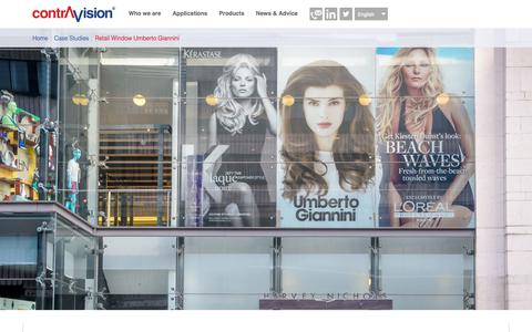 Screenshot of Case Studies Page contravision.com - Retail Window Umberto Giannini | Contra Vision - captured May 10, 2019