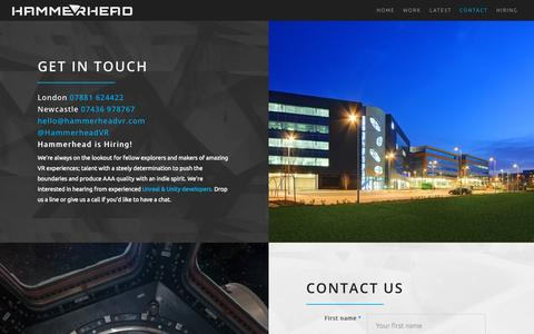Screenshot of Contact Page hammerheadvr.com - Contact | Get in Touch |  Hammerhead VR - captured Sept. 28, 2015
