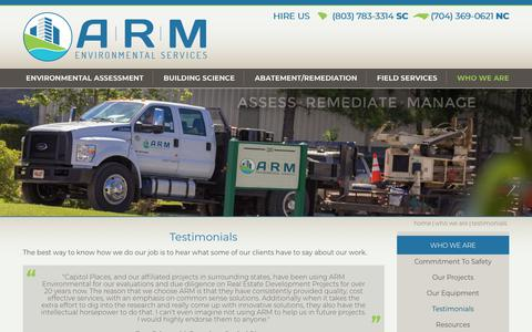 Screenshot of Testimonials Page armenv.com - Testimonials | ARM Environmental Services, Inc. - captured Dec. 13, 2018
