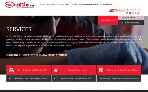 Screenshot of Services Page crystalglass.ca - Services - captured July 22, 2019