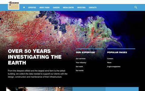 Screenshot of Home Page fugro.com - Fugro World Wide - captured Sept. 19, 2014