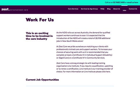 Screenshot of Jobs Page zestcare.net.au - Work For Us | NDIS Carer Recruitment | Zest Care - captured Jan. 1, 2017