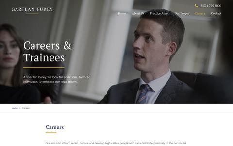 Screenshot of Jobs Page gartlanfurey.ie - Legal Careers at Gartlan Furey Solicitors, Dublin - captured July 16, 2018