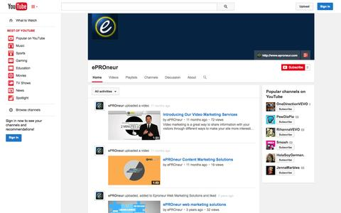 Screenshot of YouTube Page youtube.com - ePROneur  - YouTube - captured Oct. 23, 2014