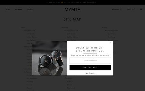Screenshot of Site Map Page mvmtwatches.com - Site Map – MVMT - captured Nov. 16, 2018