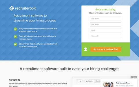 Screenshot of Landing Page recruiterbox.com - Recruitment Software, Applicant Tracking: Recruiterbox - captured July 10, 2016
