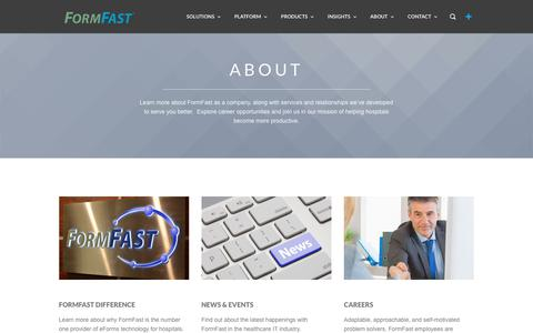 Screenshot of About Page formfast.com - About FormFast - Company Information - captured June 6, 2017
