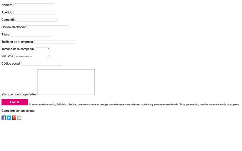 Formulario de contacto por Internet - Oferta Houdini por vía directa