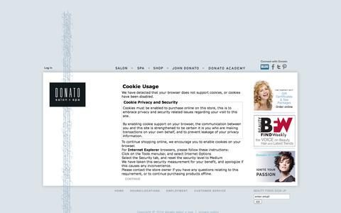 Screenshot of Login Page donato.ca - Cookie Usage : Donato salon + spa! - captured Oct. 6, 2014