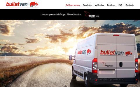 Screenshot of Home Page bulletvan.com - Quiénes somos - Bulletvan - Transporte urgente - captured March 2, 2018