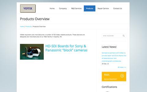 Screenshot of Products Page vidtek.com - Products Overview | Vidtek Associates Inc. - captured Oct. 7, 2014