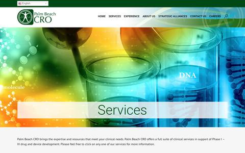 Screenshot of Services Page palmbeachcro.com - Our Services | Best Clinical Services in Florida | Palm Beach CRO - captured July 15, 2018
