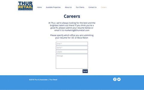 Screenshot of Jobs Page thurretail.com - Thur Retail | Careers - captured Nov. 19, 2018