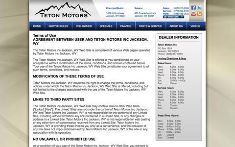 Screenshot of Terms Page tetonmotors.com - Buick Chevrolet and Subaru Jackson, WY | Teton Motors | New & Used Car Dealer - captured Oct. 7, 2014