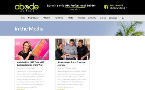 Screenshot of Press Page newabode.com.au - In the Media | Abode New Homes - captured Oct. 2, 2018