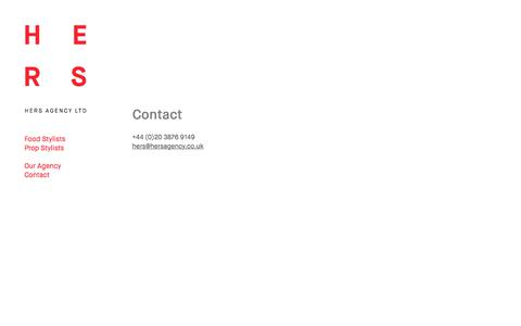 Screenshot of Contact Page hersagency.co.uk - HERS Agency Food Stylist, home economists, props stylists | Contact  | 1 - captured July 14, 2018
